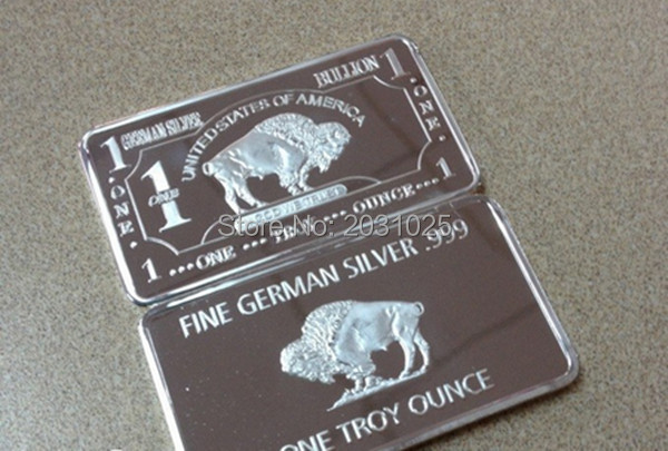 1 Troy Ounce Buffalo German Silver Bullion Bar Buffalo