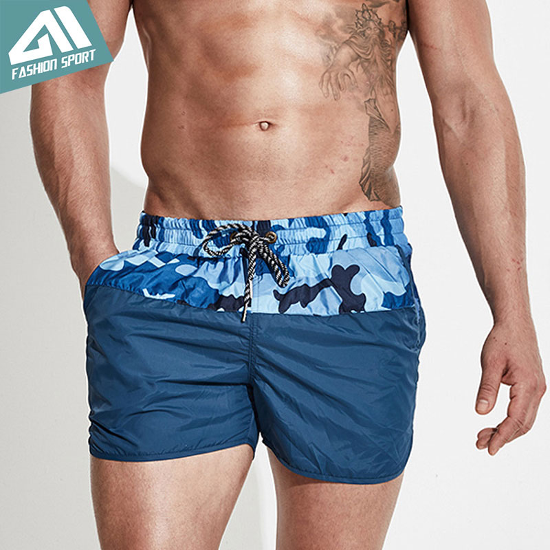 Desmiit Patchwork Herreskjorte Shorts Camouflage Surfing Beach Menn Svømming Shorts Atletisk Sport Løp Gym Male Shorts DT78