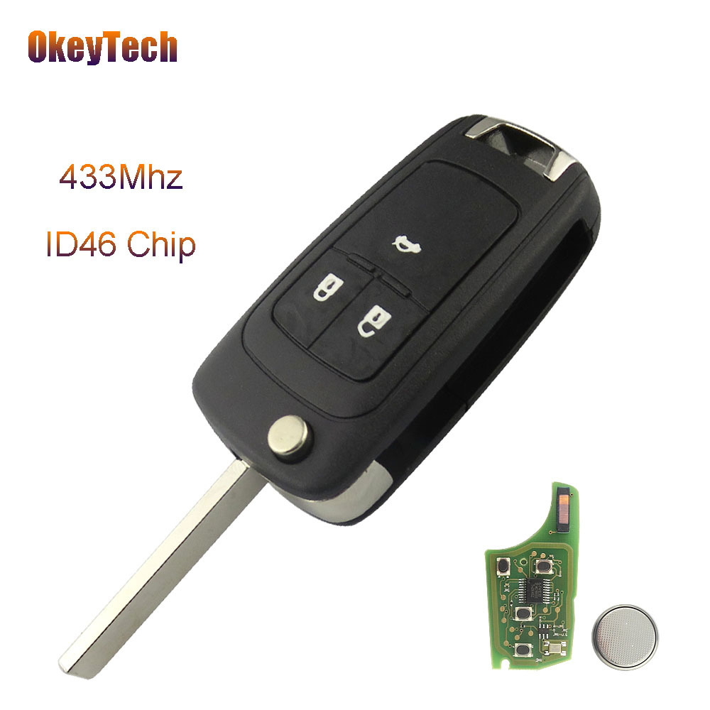 OkeyTech Remote Control 433Mhz ID46 Chip Flip Fold Car Key for Opel Vauxhall Astra J Insignia 2009-2014 Zafira C Mokka 2012-2014 autewode remote key case shell for vauxhall opel insignia astra j zafira c mokka car control fob cover housing hu100 blade