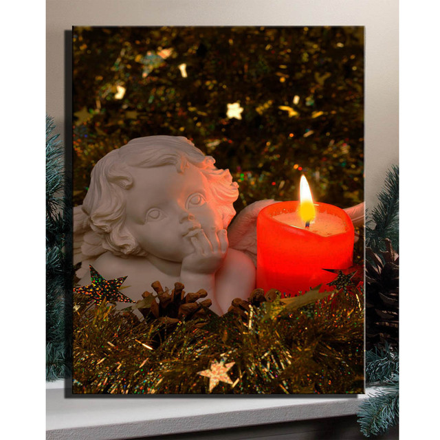 Led Lighted Flicking Red Candles White Angel Under Pine Needles Picture Canvas Wall Art Light Up