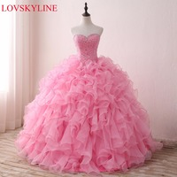 LOVSKYLINE Hot Elegant Sweetheart Wedding Dress 2018 Pink Actual Picture Tiered Beading Crystal Custom Size vestido de noiva