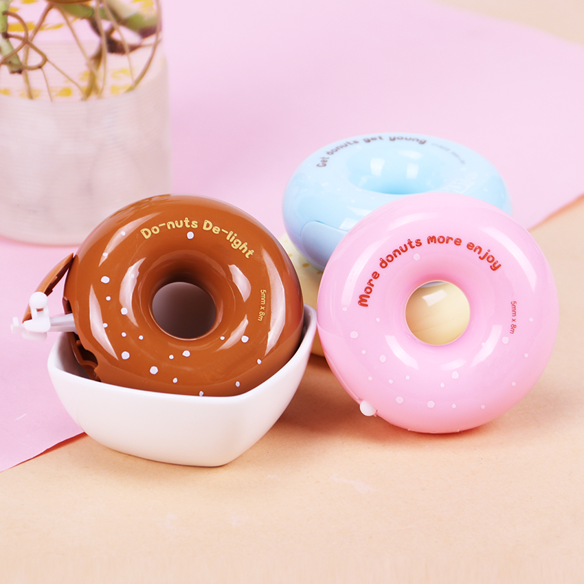 1PC Sweet Donut Correction Tapes White Sticker Stationery Tapes Label Tape Sticker Paper Masking Correction Tapes