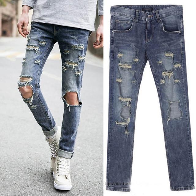 a7ca2f371e Hombres jeans rasgados 2015 nueva streetwear para hombre del todo fósforo  breve unisex rodilla pantalones vaqueros