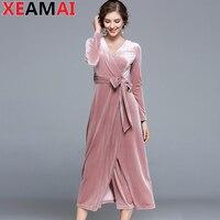 High Quality Vintage Sashes Women Casual Velvet Dress Russian Elegant Long Dress Winter Autumn Dress Vestido