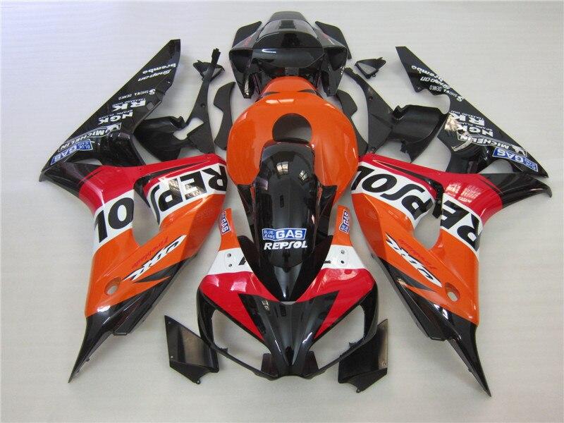 Moulage par Injection gratuit personnaliser kit de carénage pour Honda CBR1000RR 2006 2007 carénages noirs rouges CBR 1000RR 06 07 OT23
