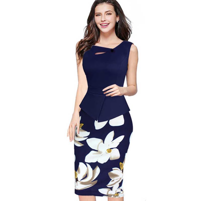 cab3f5c329 Summer Elegant Women Business Dress Pink Print Floral Tunic Bodycon Sheath  Casual Pencil Dresses Plus Size B288