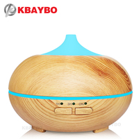 KBAYBO 150ml Ultrasonic Humidifier Cool Mist Aroma Diffuser Aromatherapy Wood Essential Oil Diffuser LED Lights For