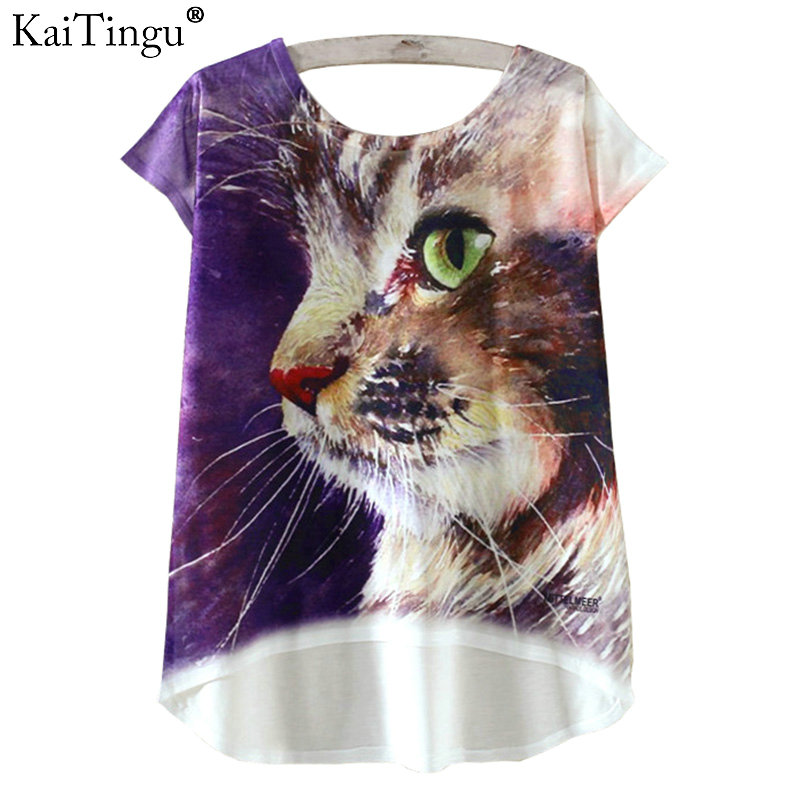 KaiTingu Fashion Summer T Shirt Harajuku Novelty Kawaii Cute Cat Wings Print T-shirt Short Sleeve T Shirt Women Tops M L XL Size