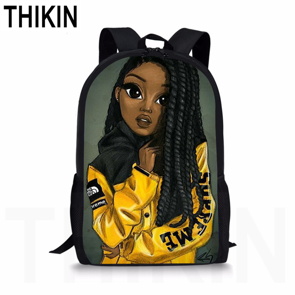 THIKIN African Backpack Cartoon African Black Girls Pattern School Bag Kids Cute Book Bag Teenager Girls Schoolbags Mochila