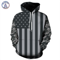 Spring Autumn Hoodies Men New Arrival American Flag Sweatshirt With Hood Hip Hop Pullover 3D Print