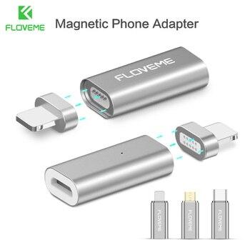2048e30fdb6 FLOVEME Micro USB conector imán adaptador Micro USB a tipo-c/para iPhone  iluminación/Mrico USB Cable adaptador cargador magnético