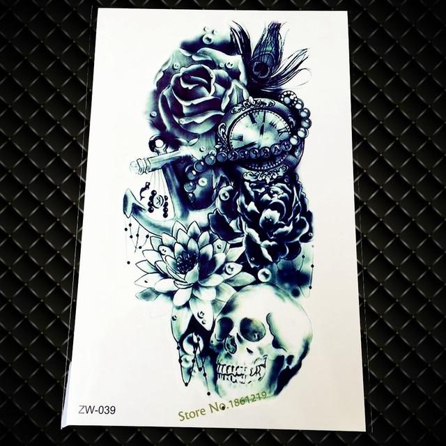 1 Pieza Brazo Fresco Tatuaje Temporal Para Hombres Gzw 039 Flor Rosa