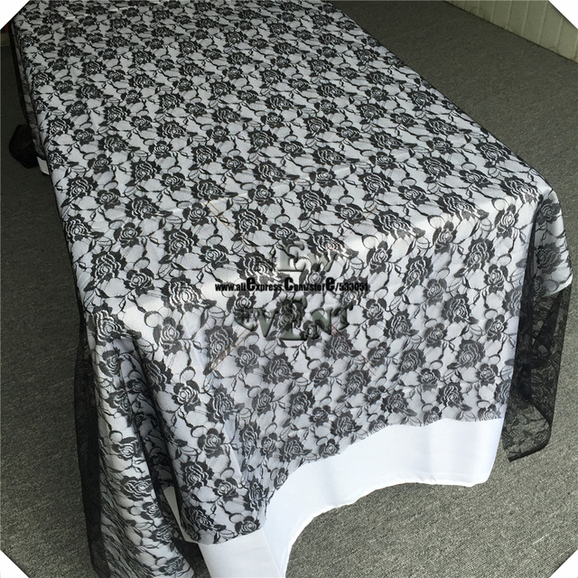 Black Lace Rectangular Tablecloth For Wedding Table Overlay/Covers Party  Cloth Wedding Linen Lace Flower