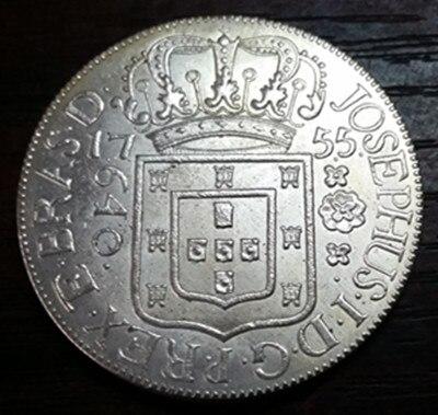 1755 R Бразилия 640 Reis-Хосе я посеребренные монету