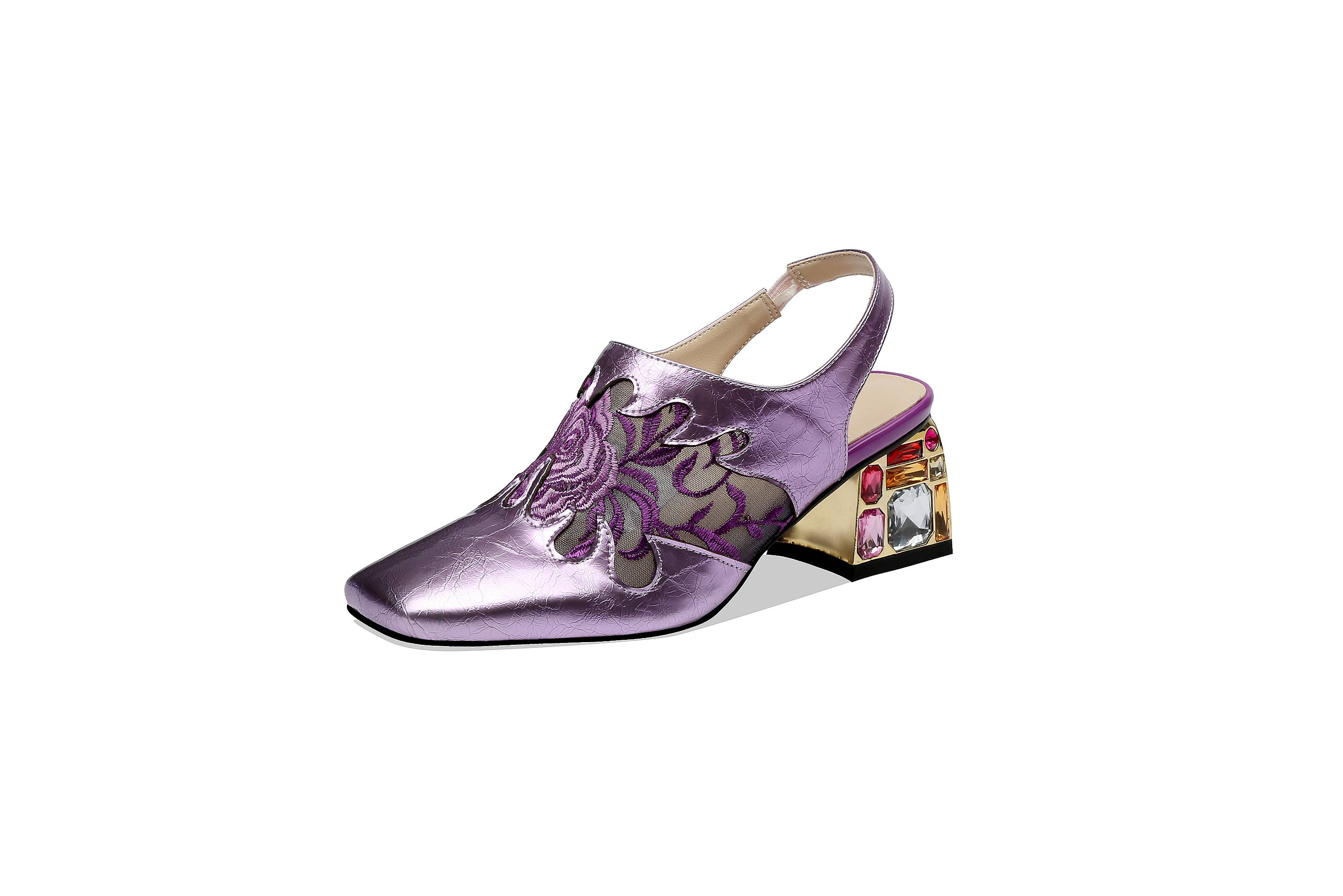 Large Size Mixed Colors Natural Leather Flower Embroidery Slip On Women Pumps Colorful Crystals Decoration Slingback Shoes L10