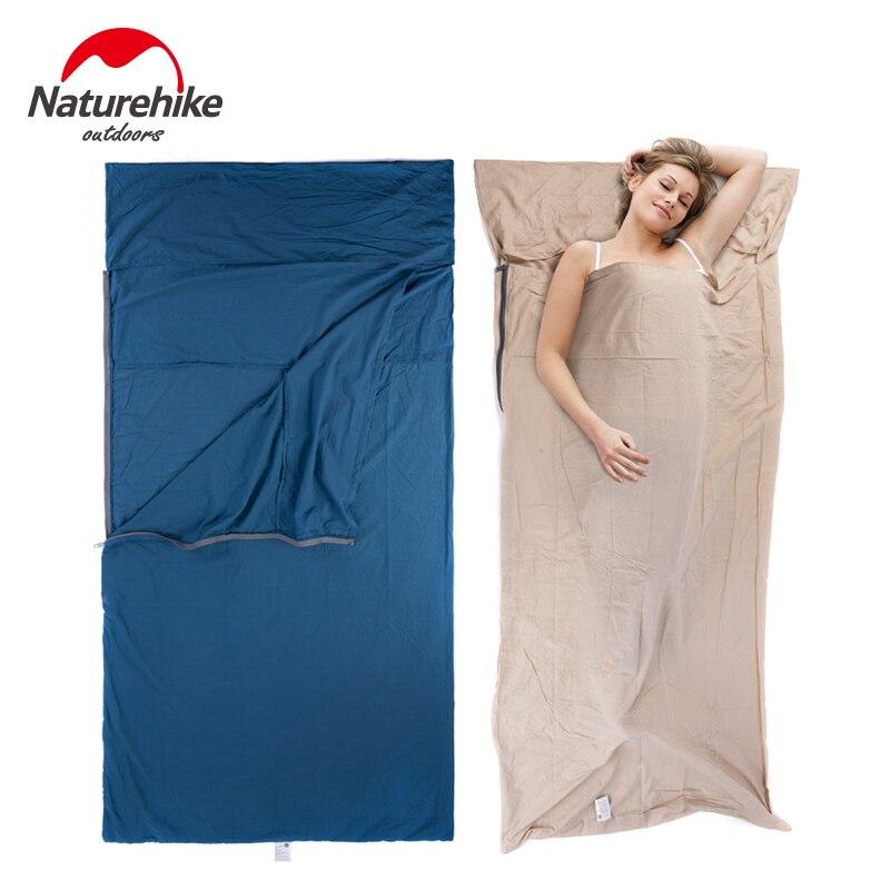 Naturehike одиночный двойной спальный мешок лайнер конверт ультра-легкий портативный хлопковый спальный мешок лайнер для кемпинга на открытом ...