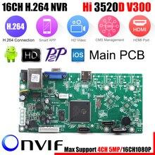XMEye, vidéosurveillance P2P 16CH 1080P, carte HI3520D 4CH 5MP 16CH 1080P, Module denregistrement vidéo, 2 Ports SATA ONVIF, détection de mouvement