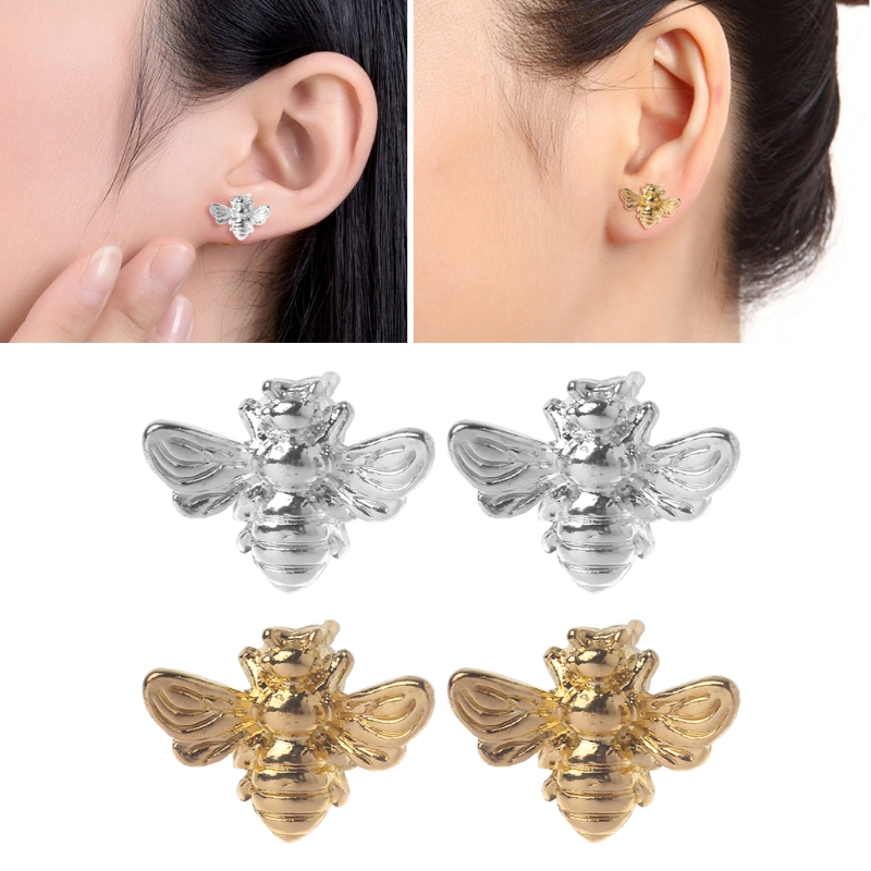 1 Pair Cute Tiny Honey Bee Stud Earrings Insect Bumble Bee Jewelry Gold Silver