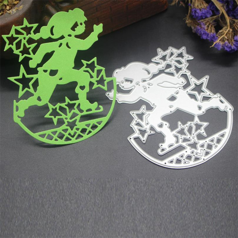 Ice Skating Boy Merry christmas die Metal Cutting Dies Stencils Scrapbooking Embossing DIY Crafts Dies Halloween #