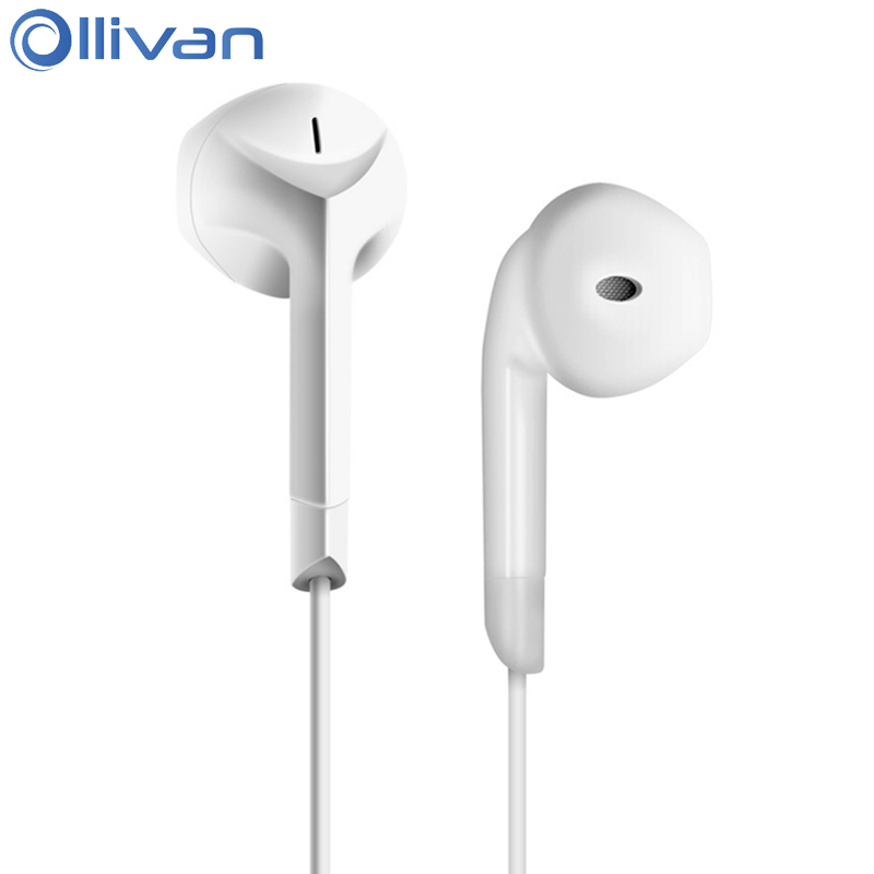 Ollivan E6C Half In ear Earphone Stereo Earphones Bass Headsets With Microphone 3 5mm Earbuds For