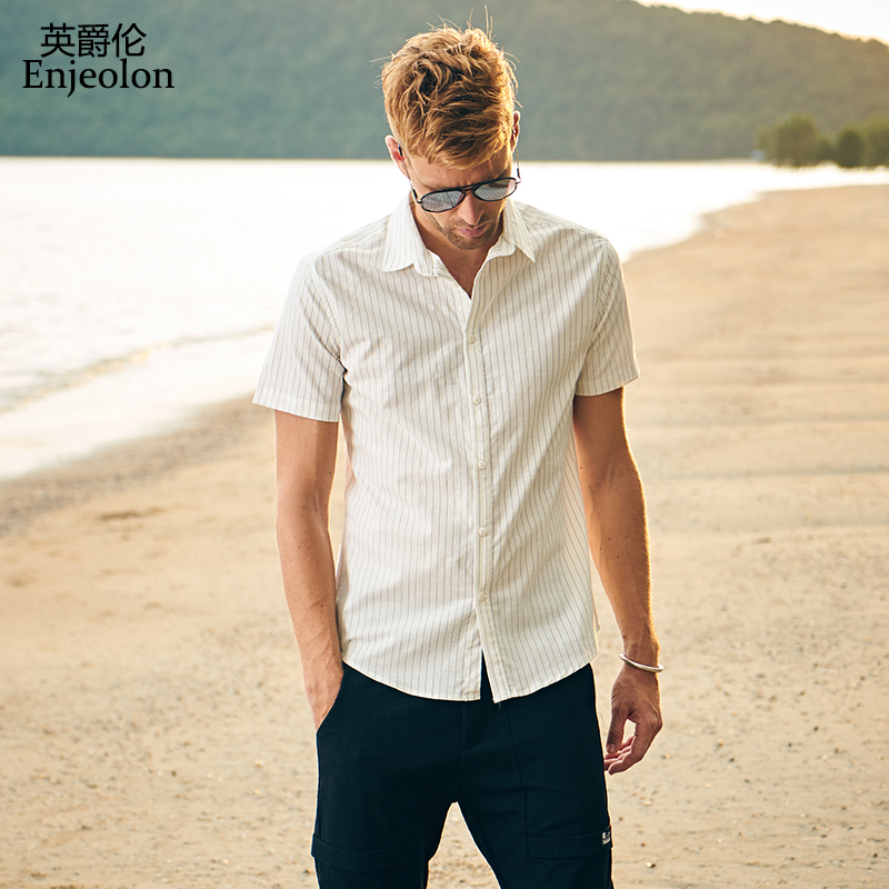 Enjeolon brand new summer short sleeve shirt men striped shirt cotton clothing male casual for men beach shirt clothes C2252 ...