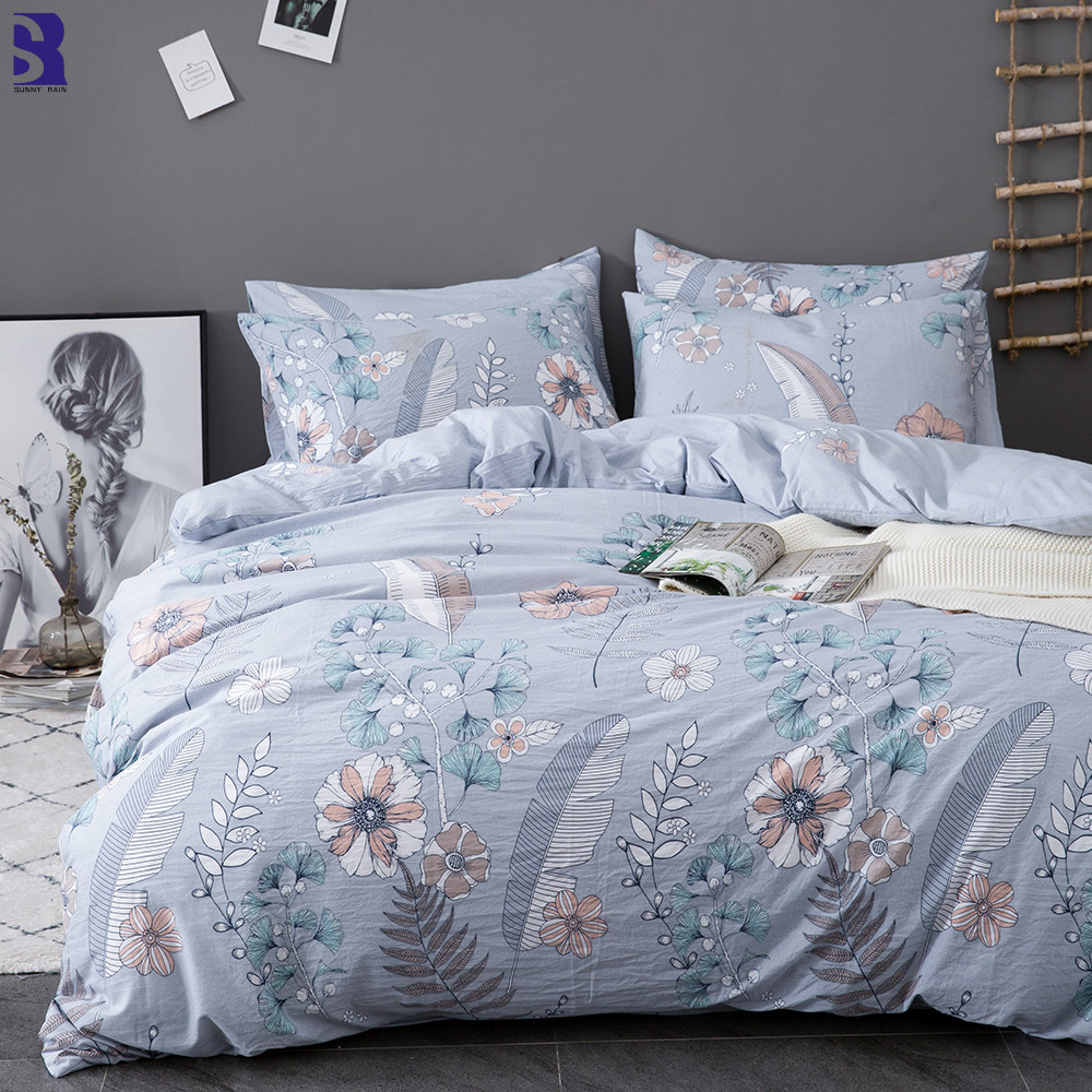 SunnyRain 3-Piece Printed Duvet Cover Set King Size Bedding Set Queen Bed Set UK US Twin Size Kids Bedding Sets