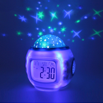 Starry Sky Alarm Clock Projector Digital Clock Led Calendar Kids NightLight Color Changing Electronic Display Snooze Function