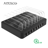 AIXXCO 3 Quick charger 3.0 22A 110W 6 Port USB Charging Station Dock USB Charger Hub Fast USB Charging Dock