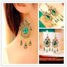 SHUANGR, Ретро стиль, дворцовые зеленые серьги в форме капли воды, женские длинные большие серьги для женщин