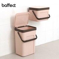 Baffect hanging waste bin 사무실 부엌 욕실 쓰레기 수거통 벽에 장착 된 쓰레기통 이중 용도 보관함