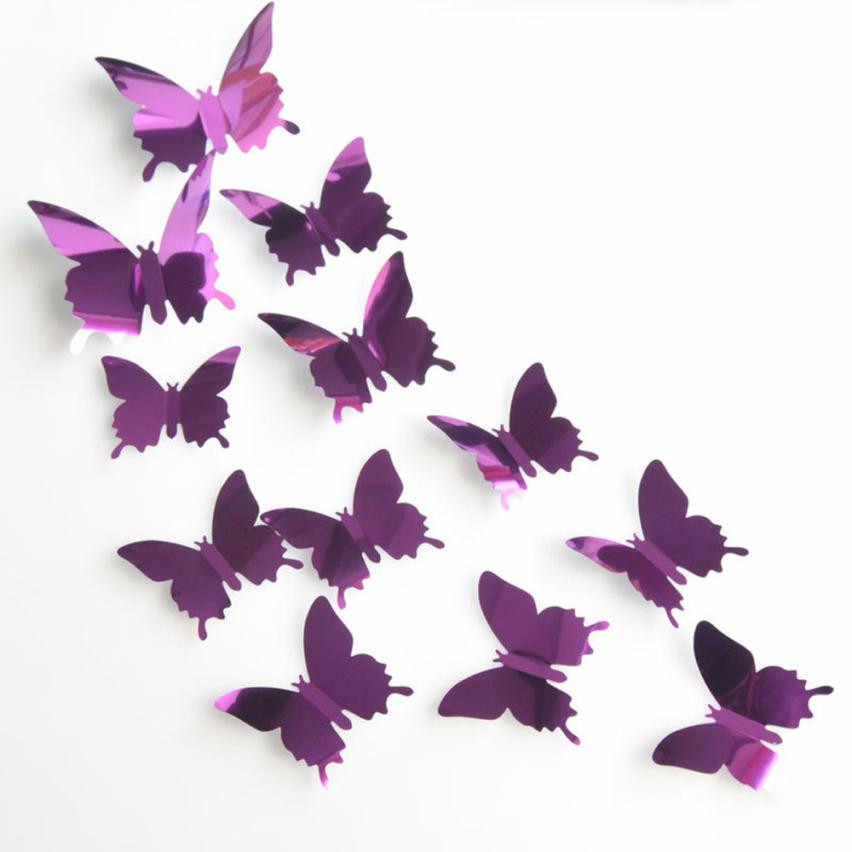 12 шт. ПВХ 3d бабочка Настенный декор бабочка наклейки на стену серебряное зеркало украшение картина для дома 3D DIY настенные декоративные наклейки