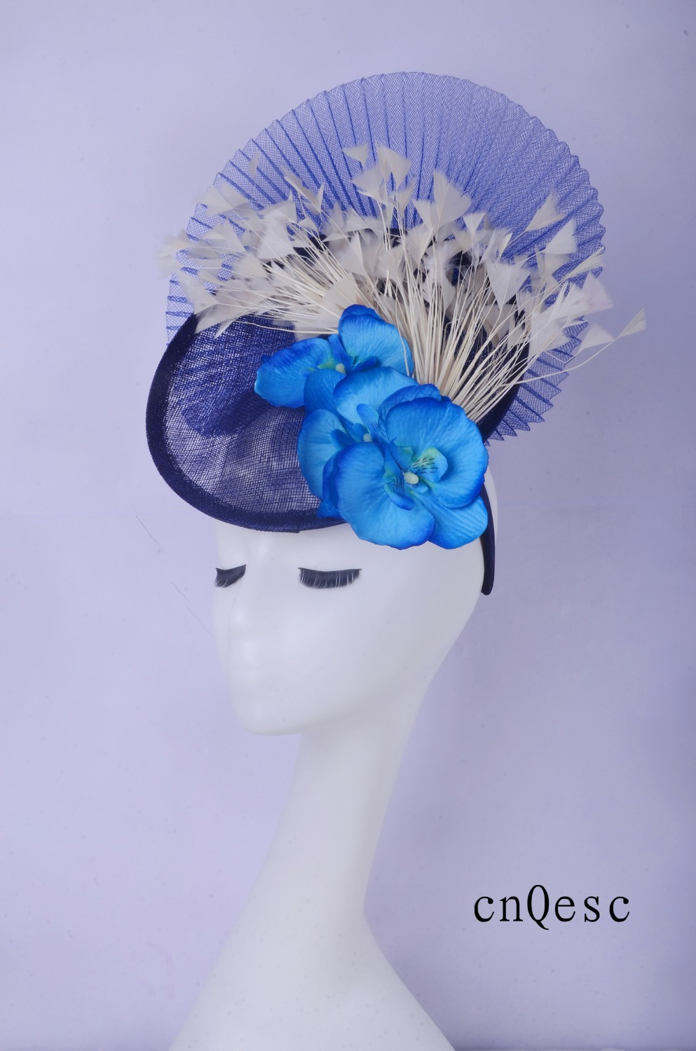2019  Navy Ivory Sinamay Fascinator Feather Headpiece Kentucky Derby Wedding Races Bridal Shower Mother Of The Bride W/feather