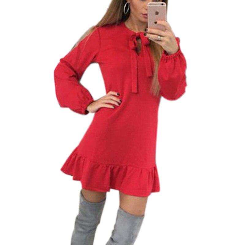 Autumn Ruffles Hemline Bow A-Line Mini Dress 2018 Long Sleeve Women Cute Dresses Party Vintage Des Festa Femme GV543