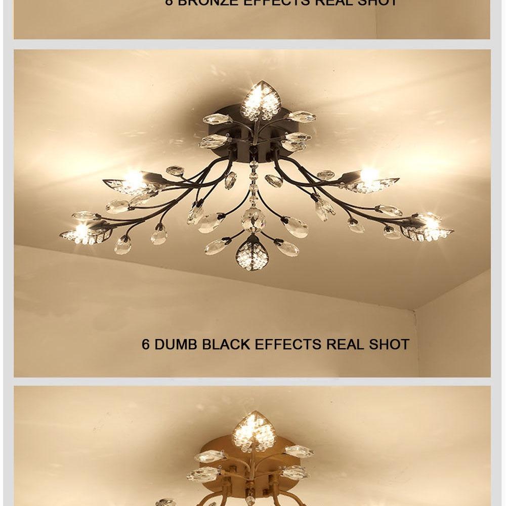 HTB1yBrSeBcHL1JjSZFBq6yiGXXaC Modern Flush Mount Home Gold Black LED K9 Crystal Ceiling Chandelier Lights Fixture for Living Room Bedroom Kitchen Lamps