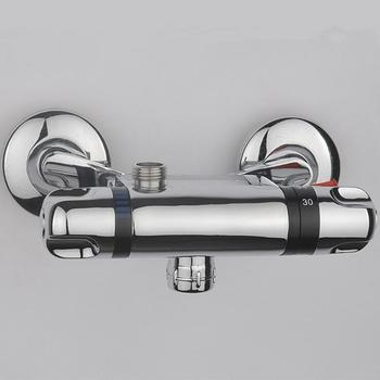 Bathroom thermostatic faucet mixer water tap, Copper shower faucet thermostatic mixing valve, Wall mounted shower faucets chrome