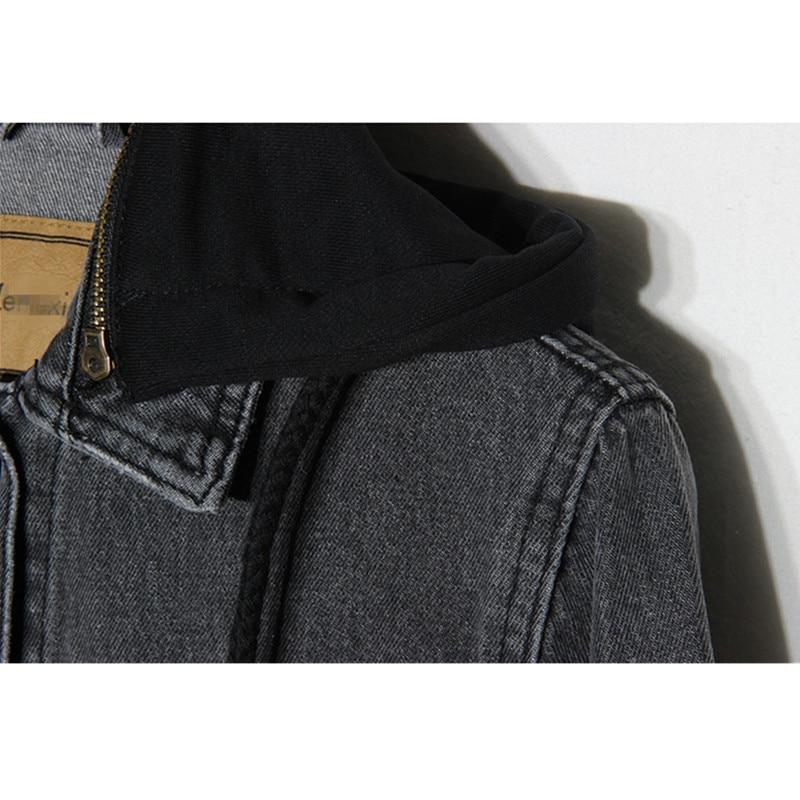 Gris Capuchon Femmes Casual Nouveau Harajuku Manteau Grand Taille Pour 2018 Bases Denim Gray Vintage Femelle Jeans Veste À Printemps Court Les QrWCeBdxo