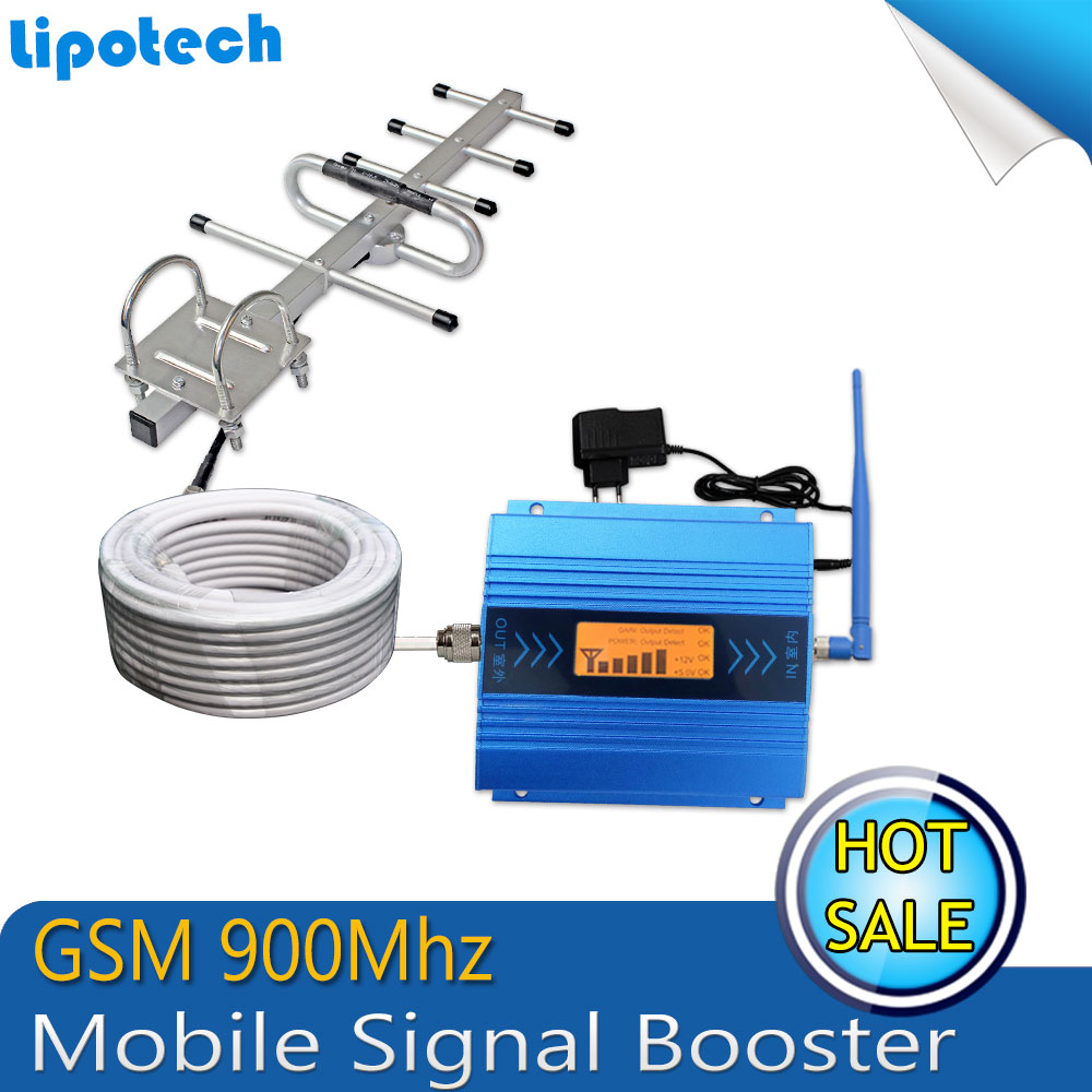 LCD Display !!! GSM Booster 2G Cell Phone GSM Signal Booster 900mhz Mobile Signal Repeater Signal Amplifier With Cable + Antenna