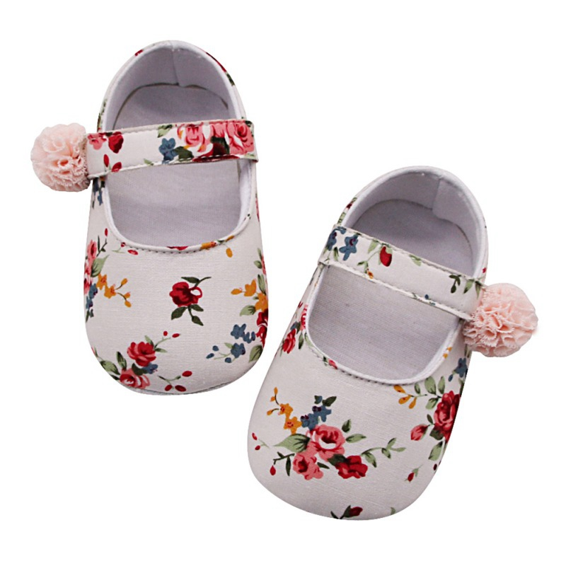 Floral Newborn Baby Prewalker Soft Soled Anti-slip Shoes Footwear Classic Princess Girl Crib Mary Jane Flower Shoes