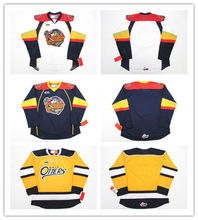 ERIE OTTERS WHITE YELLOW BLUE Hockey Jersey Embroidery Stitched Customize  any number and name(China 3c9e93d52