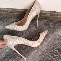 2018 Superstar Hot Brand Snakeskin Leather Alligator High Heel 10cm 8cm Shoes Woman Wedding 12CM Sexy Women Pumps Big Size 44 43