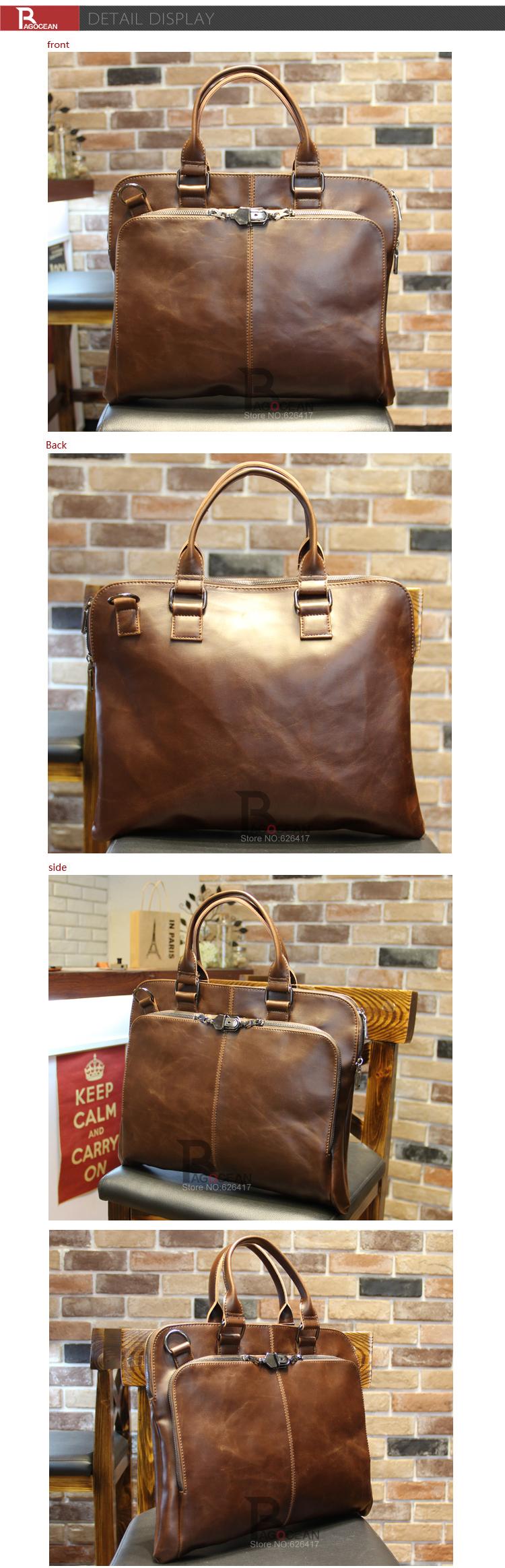 "New high quality pu leather Shoulder leisure men's bag business messenger portable briefcase Laptop large Purse 14"" Handbag 10"