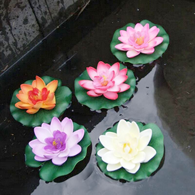 11cm artificial silk lotus floating water lily blooming for Plastic floating pond plants
