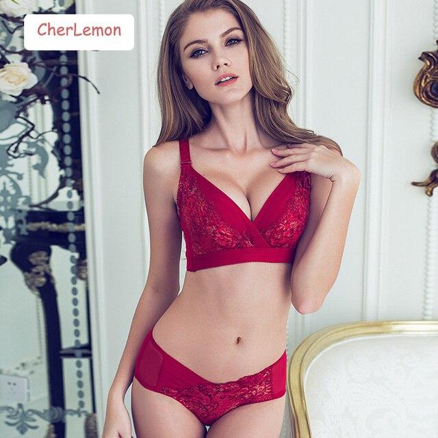 CherLemon New Sexy Push Up Women Bra Set Lace Embroidered Ladies Underwear Set Sexy Lingerie Sets Women Bra Brief Sets Intimates