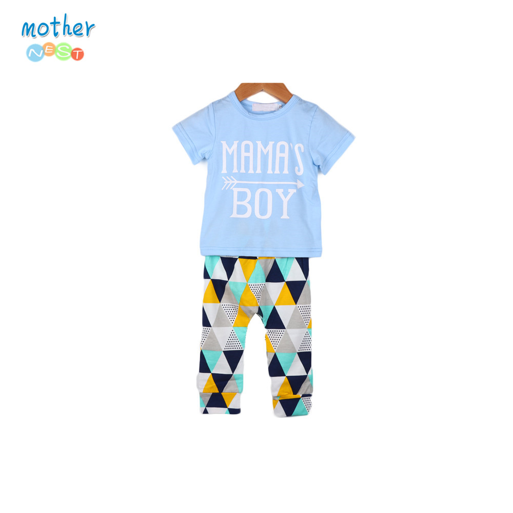 Mother nest Newborn Sport Suits Baby Boy Clothes Short Sleeve Cotton T-shirt Tops Geometric Shorts Children Clothing 3840 family fashion summer tops 2015 clothers short sleeve t shirt stripe navy style shirt clothes for mother dad and children