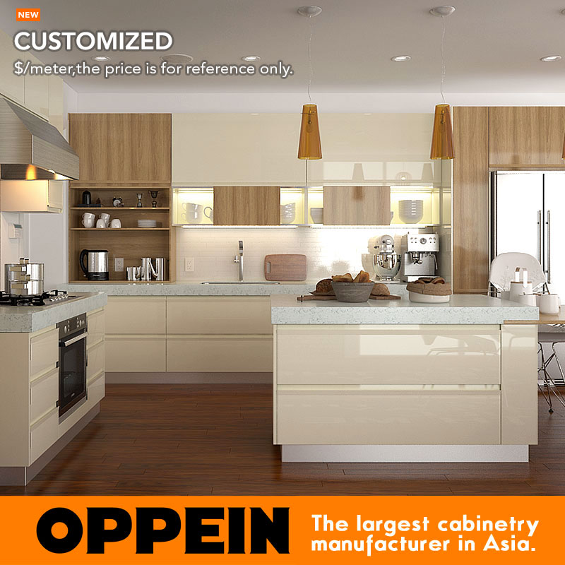 Modular Water Proof Fiber Plastic Kitchen Cabinets With Countertop OP15-PVC04