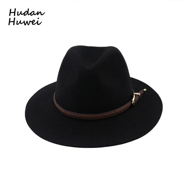100% Wool Jazz Fedora hats with leather band European Us fashion Flat Brim  Panama Plain Black Formal top hat GH-307 fb88638d8b6