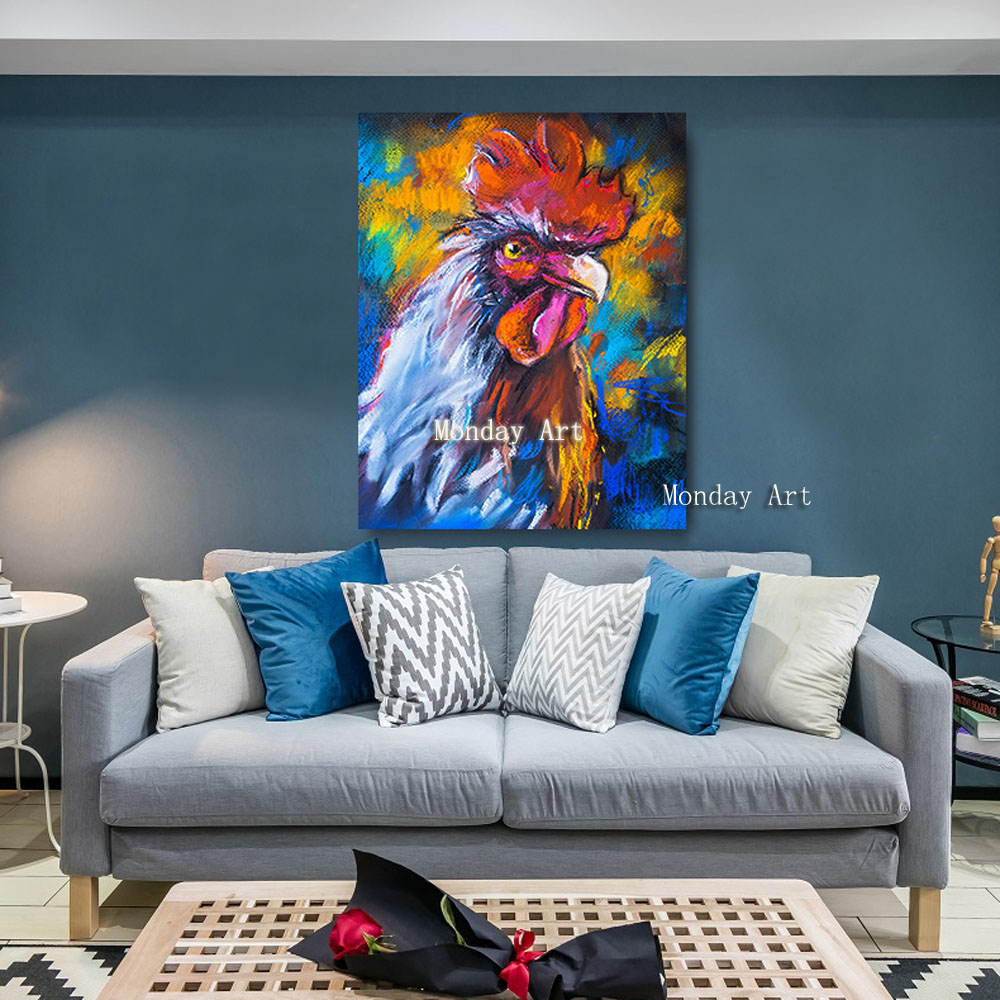 J Embelish-HD-Print-Canvas-Oil-Paintings-For-Living-Room-Colorful-Rooster-On-A-Cardboard-Animals-Wall (8)