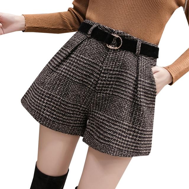 2019 Spring New Woolen Shorts Women Fashion High Waist Plaid Wide Leg Shorts Female Casual Loose Shorts With Belt