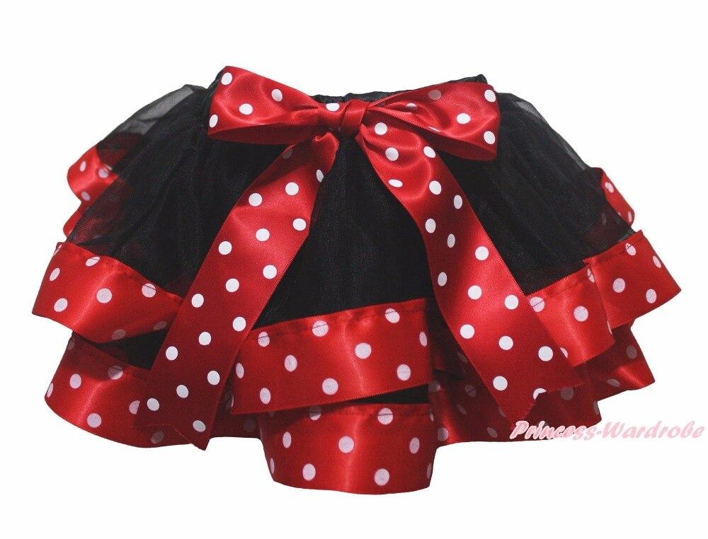 תינוק שחור 4 שכבה לבנה נקודות סרט אדום ילדה חצאית עלה כותרת Nb-8y