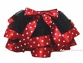 Baby Black 4 Layer Stars White Dots Red Ribbon Girl Petal Skirt Nb-8y